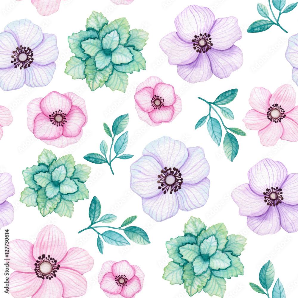 Akwarela mięty, liści i kwiatów wzór <span>plik: #127730614   autor: Nebula Cordata</span>
