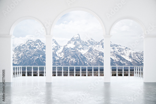 Interior with snowy mountains view