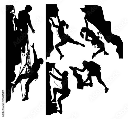 Canvas Print Climber Sport Activity Silhouettes, art vector design