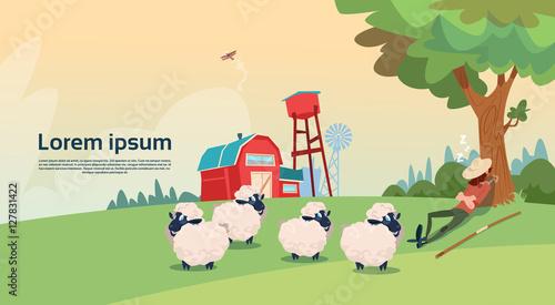 Fotografia Farmer Shepherd Breeding Sheep Wool Farm Flat Vector Illustration