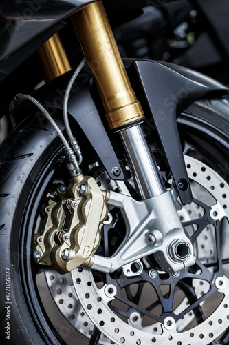 Canvas Print details of motorcycle, Motorbike into deep,