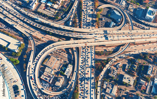 Wallpaper Mural Aerial view of a freeway intersection in Los Angeles