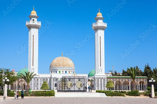 MONASTIR, TUNISIA, AFRICA - CIRCA NOV, 2012: Two minarets are in the .mausoleum of Habib Bourguiba in center of Monastir city. The first president in Tunisia was born in Monastir