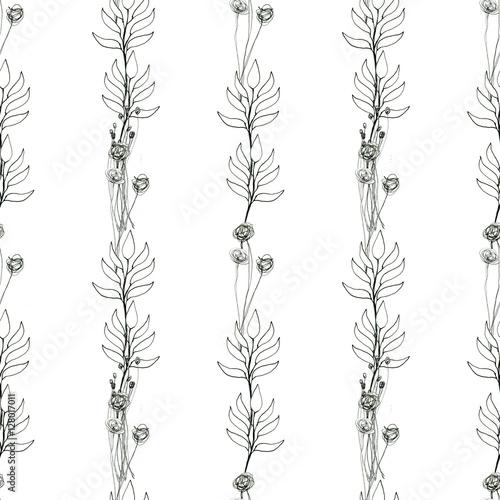 Bezszwowy Kwiatowy Z Abstrakcyjnymi Czarnymi I Białymi Kwiatami
