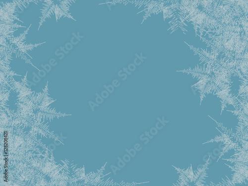 Winter frosted window background Fototapeta