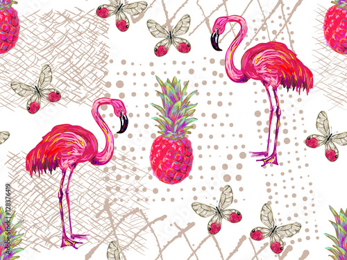 Valokuvatapetti Summer jungle pattern with tropical butterflies, flamingo and pineapple vector background