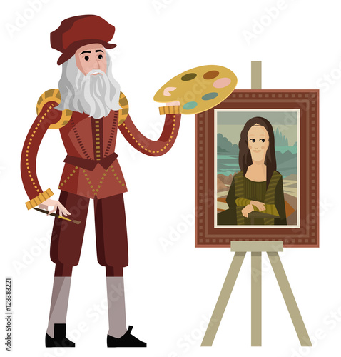 Fotografie, Tablou da vinci painting the mona lisa gioconda