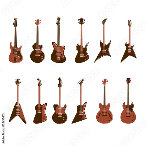 Photo Electric guitars set on white background