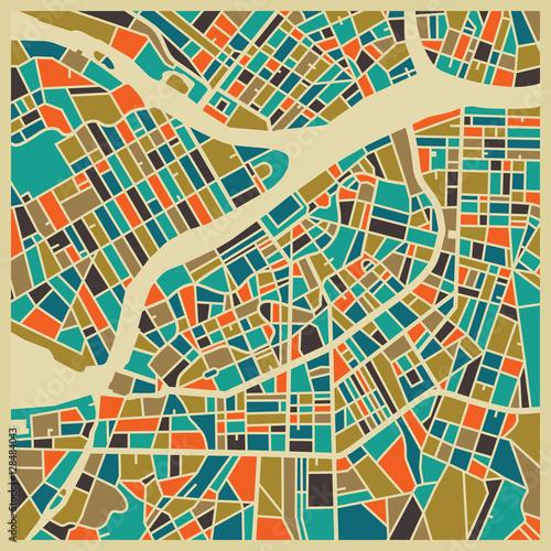 Mapa wektor Sankt Petersburga. Kolorowa podstawa vintage dla karty podróży, reklamy, prezentu lub plakatu.
