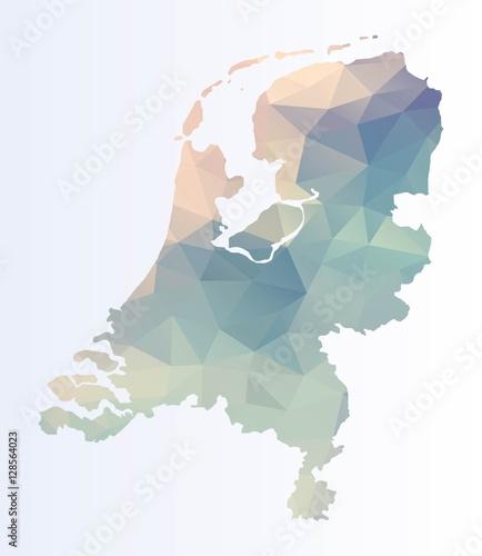Photo Polygonal Netherlands map