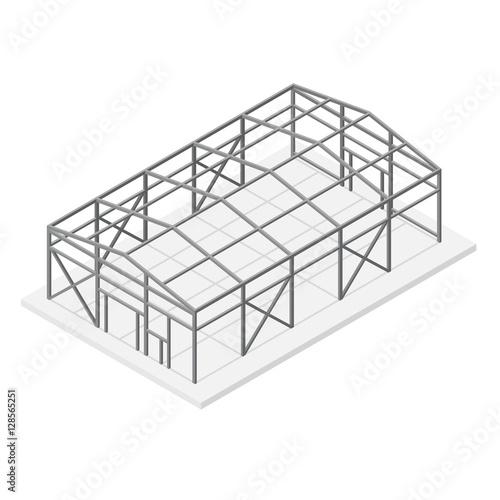 Hangar Metal Frame Isometric View. Vector Fototapeta