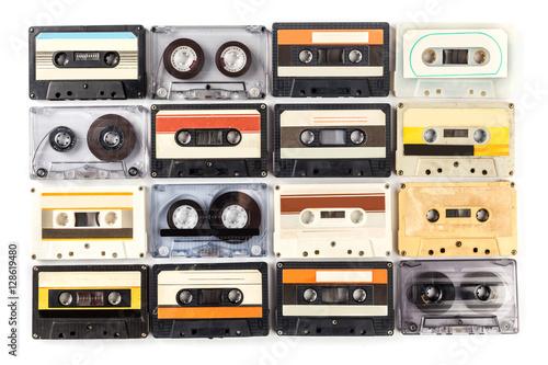 Leinwand Poster vintage cassette tape isolated white background