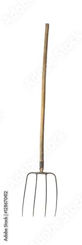 Obraz na plátne four-pronged pitchfork vintage pitchfork isolated on white background