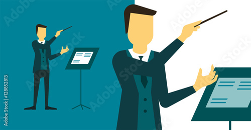 Person who directs the performance of orchestra or choir.