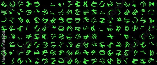 Stampa su Tela Complex line of alien hieroglyphs symbols isolated on black background, digital illustration art work