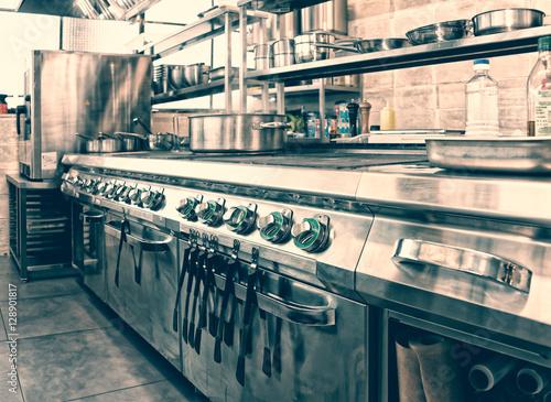 Professional kitchen interior, toned