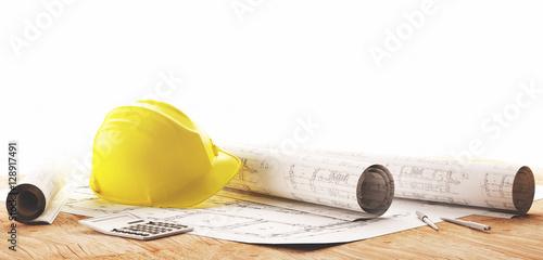 Cuadros en Lienzo Elmetto giallo con progetti architetto per lavori in cantiere