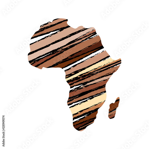 Canvas Print Africa map silhouette icon vector illustration graphic design