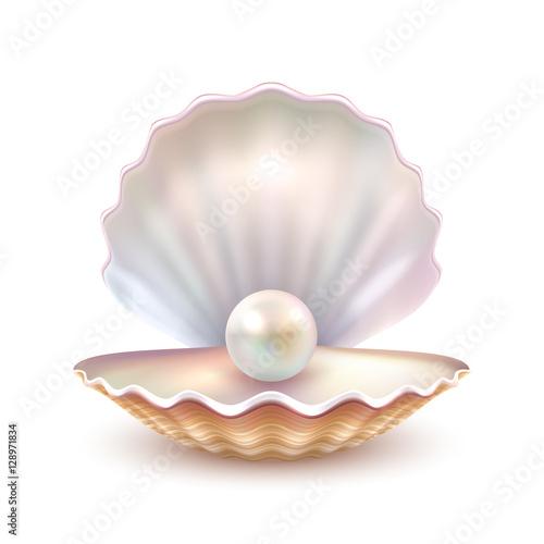 Stampa su Tela Pearl Shell Realistic Close Up Image