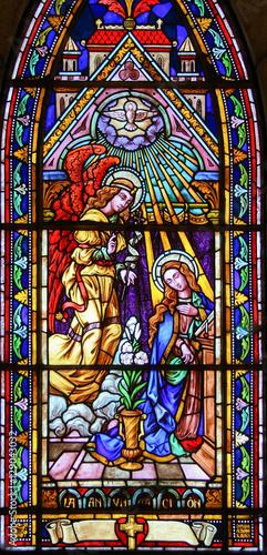 Fotografie, Obraz Stained glass in Bariloche - the Annunciation