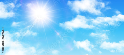 Obraz na plátně Sunny background, blue sky with white clouds and sun