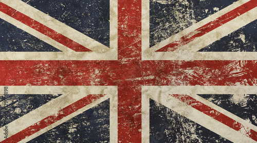 Photo Old grunge vintage faded Britain flag