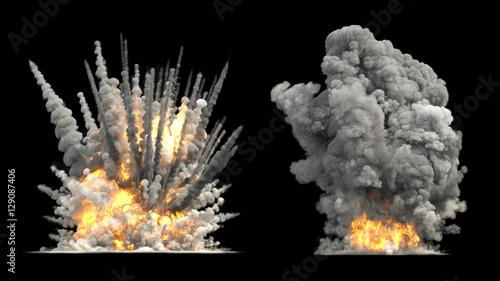 Canvas Print Big explosion on ground