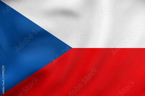 Wallpaper Mural Flag of Czech Republic waving, real fabric texture