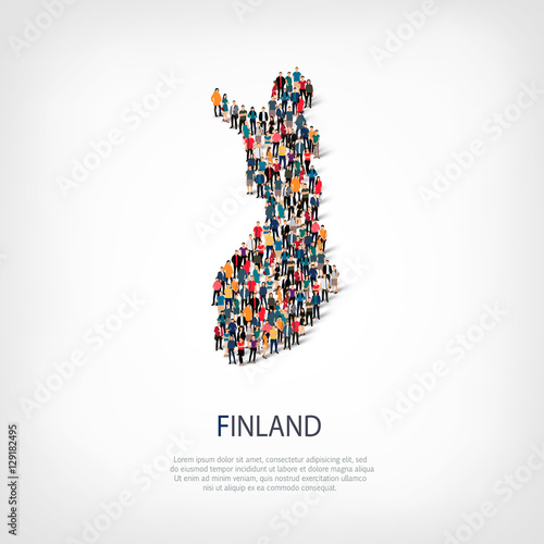 Wallpaper Mural people map country Finland vector