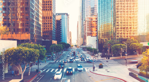 Fotografie, Obraz View of Los Angeles rush hour traffic