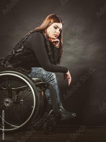 Canvas Sad girl on wheelchair