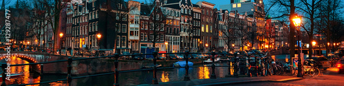 Canvas Print Amsterdam, Netherlands canals and bridges