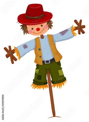 Scarecrow wearing red hat and vest Fototapeta