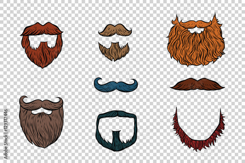 Fotografia stylish beard and moustache set collection