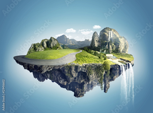 Fotografia, Obraz Magic island with floating islands, water fall and field