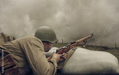 Fotografie, Obraz PERM, RUSSIA - JULY 30, 2016: Historical reenactment of World War II, summer, 1942