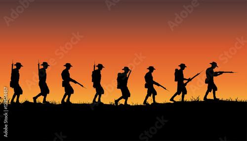 Foto Anzac Day, Australian soldiers of World War 1 marching