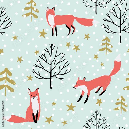 Plakat z  leśnym zwierzęciem - lisy w lesie, gwiazdy i śnieg