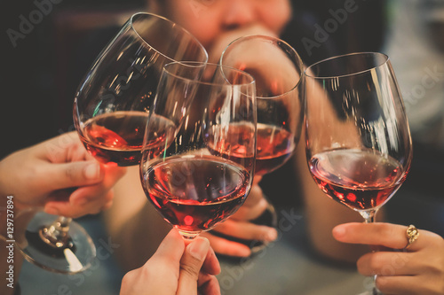Fototapeta people cheering wine enjoy party to night business people party celebration succ