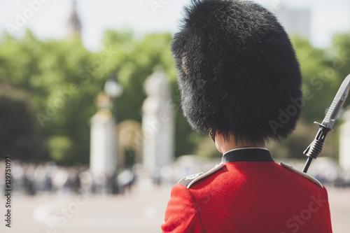 Fototapeta British Royal guard on Buckingham Palace before Queen Elizabeth II and Prince Ph