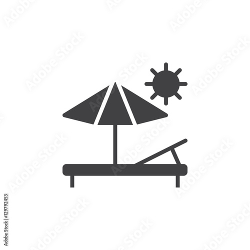 Fotografie, Obraz Vacation, sun lounger icon vector, filled flat sign, solid pictogram isolated on