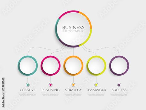 Photographie Modèle infographique 3d abstrait avec cinq étapes pour le succès