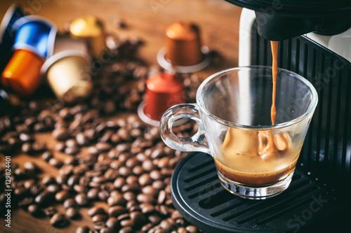 Fotografiet Espresso coffee and machine