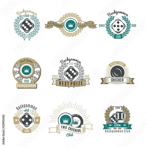 Canvastavla Backgammon Clubs Retro Style Emblems