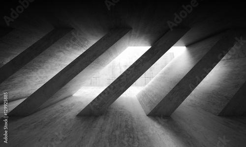 3 d dark concrete interior with diagonal columns