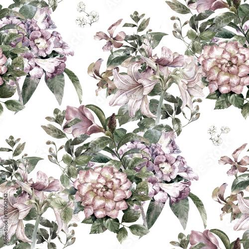 Fototapeta Akwarela obraz liść i kwiaty, bezszwowy wzór na bi