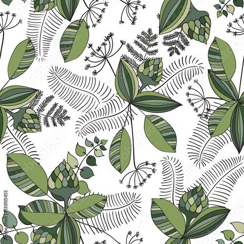 Fototapeta Scandinavian vector floral seamless pattern