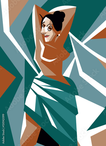 cubist woman painting