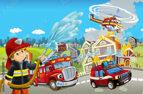 Valokuva Cartoon stage with different machines for firefighting - trucks helicopter and f