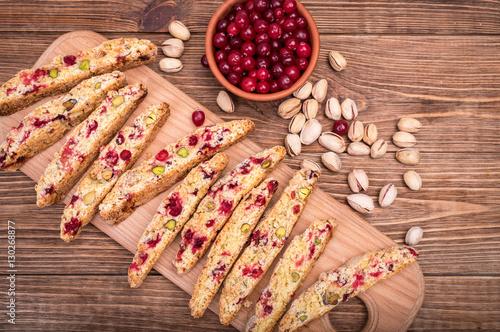 Fotografija Biscotti with pistachios and cranberries.